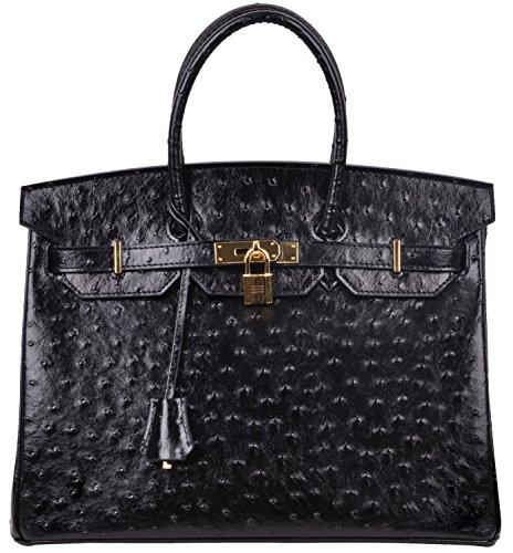 Embossed Leather Handbag Purse - Cherish Kiss Women's Handbags Top Handle Padlock Bags Genuine Leather Embossed Ostrich Purses (35CM Ostrich, Black)
