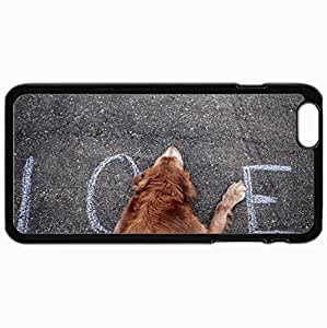 Personalized Protective Hardshell Back Hardcover For iPhone 6 Plus, Dog Street Love Text Design In Black Case Color