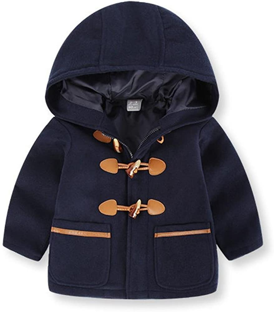 Raptop Baby Boys Toggle Snowsuit Coat Fleece Hooded Jacket Duffle Horn Button Warm