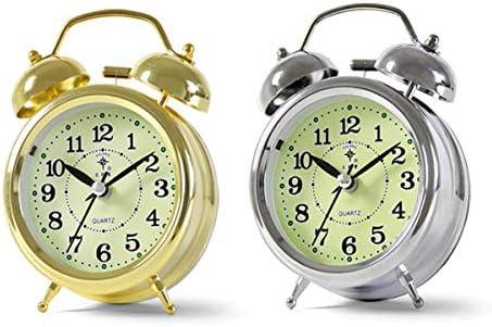 KEHUITONG 目覚まし時計、レトロなサイレントクォーツ時計、パーソナライズされた夜の光の目覚まし時計、創造的な学生ダブルベルの目覚まし時計、寝室のベッドサイドナイトライトの目覚まし時計、電池式 最新スタイル (Color : Silver)