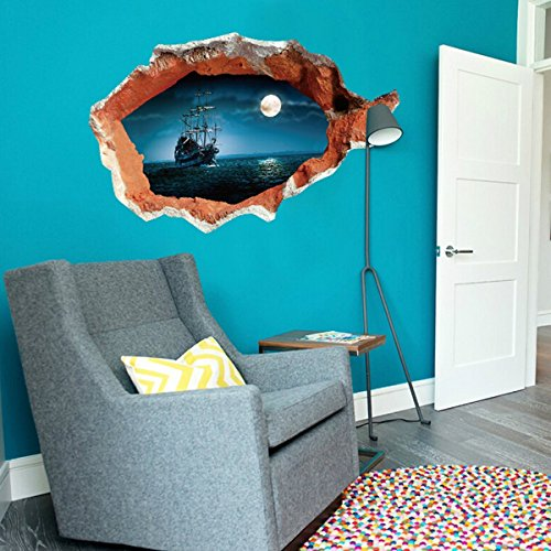 - 3D Wall Stickers- Boat & Full Moon Night Sailing Blue Sky- Removable Mural Decals for Kids Bedroom Ceiling Living Room Nursery Home Decor 27.8inch x 39.4inch
