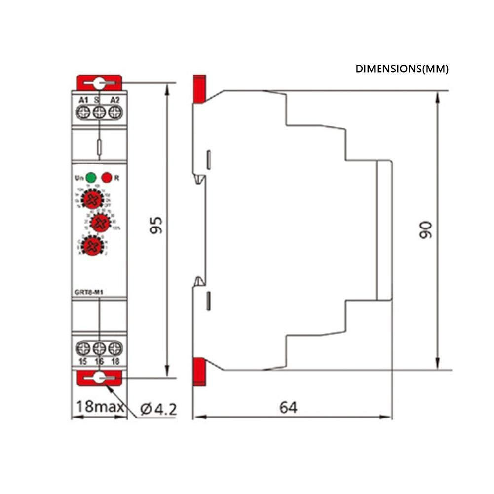 Montage Sur Rail Din Grt8-M2 Relais De Temporisation Retard/é Multifonctionnel Avec Indicateurs Del 10 Jours Ca 220 V 10 Fonctions De Temporisation