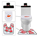 Menghao 3PCS/Set Christmas Snowman and Santa Clause Toilet Seat Cover - Tank Tissue Cover and Rug Set (White)