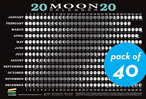 Calendar Of Moon Phases 2020 2020 Moon Calendar Card (40 pack): Lunar Phases, Eclipses, and