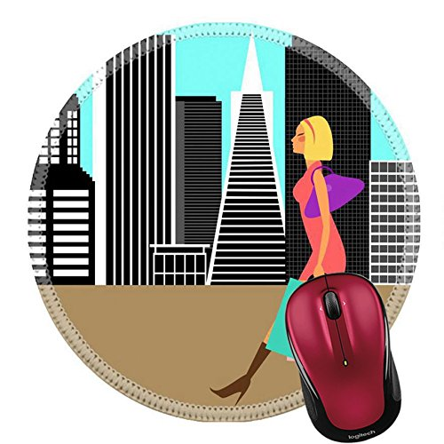 Liili Round Mouse Pad Natural Rubber Mousepad Modern Woman Shopping and Walking in the Big City Illustration IMAGE ID - Downtown In La Malls