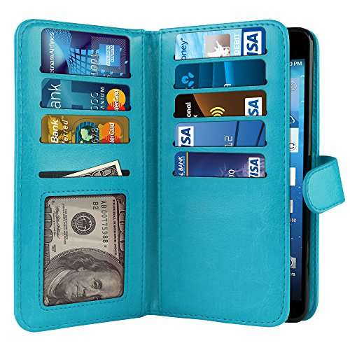 NextKin Case For Kyocera Hydro View C6742 Reach C6743 Hydro Shore, Premium PU Leather Dual Wallet Folio TPU Cover, 2 Large inner Pockets Double flap Privacy, Card Slots Holder Snap Button - Teal - Kyocera Wallet Phone Case