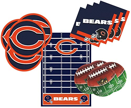 Chicago Bears Party Pack Tableware Supplies for 16 Guests - Includes 16 Dinner Plates, 16 Dessert Plates, 16 Dinner Napkins, and 1 Tablecover, Bundle (Chicago Bears Wedding)