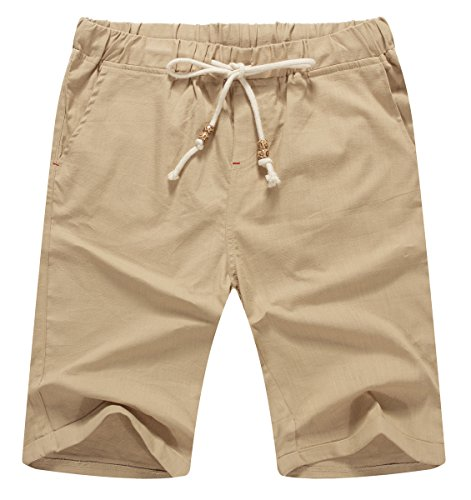NITAGUT Men's Linen Casual Classic Fit Short (S(US 32-34), 02Khaki) -
