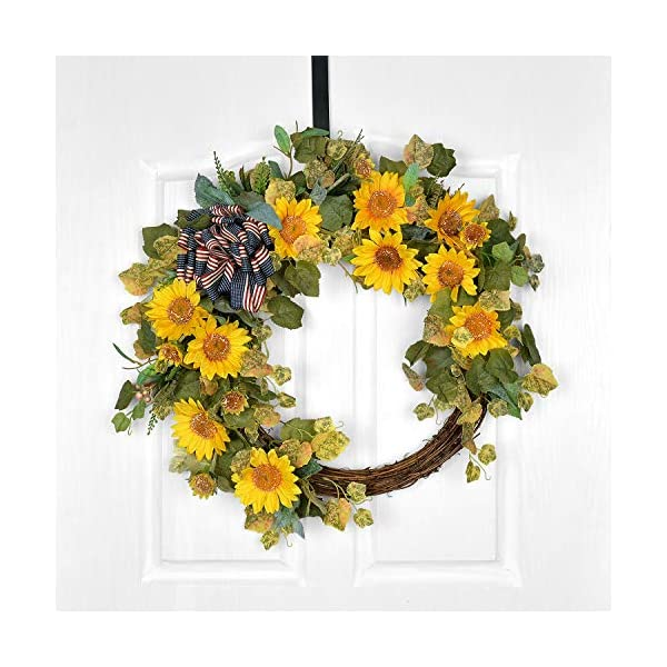 POETIC WREATH F13 Large 21 inch Yellow Sunflowers Leafs Grapevine Wreath.Year Round Wreath.Spring Wreath.Summer Wreath.Front Door Wreath.Festival Wreath.Gifts Handmade Wreath.Rustic Wreath
