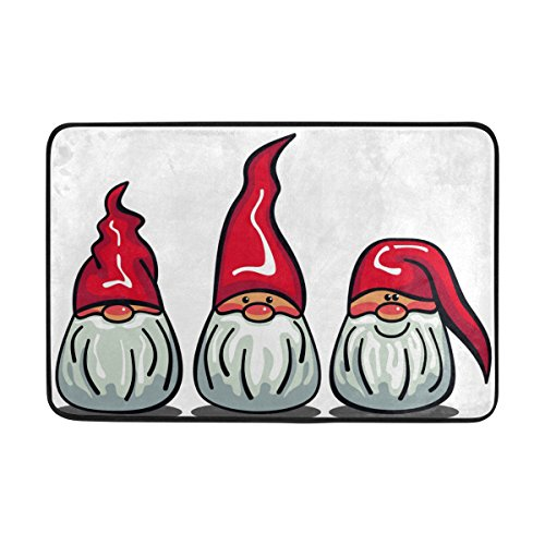 Top Carpenter Christmas Gnomes With White Beards And Red Hats Area Rug Pad - 23.6x15.7 inch - 100% Light Weight Polyester Fabric for Living - (Gnome Mat)