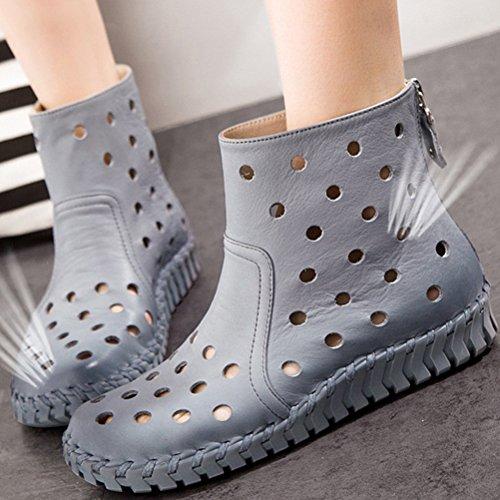 MatchLife Damen Vintage Frühling Sommer Leder Flach Ankle Boots Style1 Grau