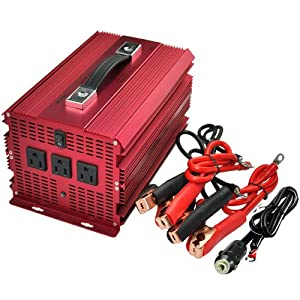 BESTEK 3 AC Outlets 2000W/4600W Power Inverter Car 12V DC to 110V AC Inverter Power Automotive Backup Power Supply for Flood Light, Blender, Vacuum, Refrigerator, Microwave Oven, Chainsaw, Water Pump and More