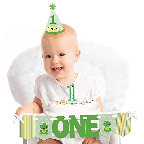 Big Dot of Happiness Froggy Frog 1st Birthday - First Birthday Boy or Girl Smash Cake Decorating Kit - High Chair -