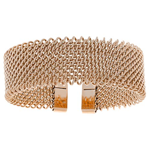 Lavari - Stainless Steel Mesh Cuff Bangle Bracelet with Rose Plating