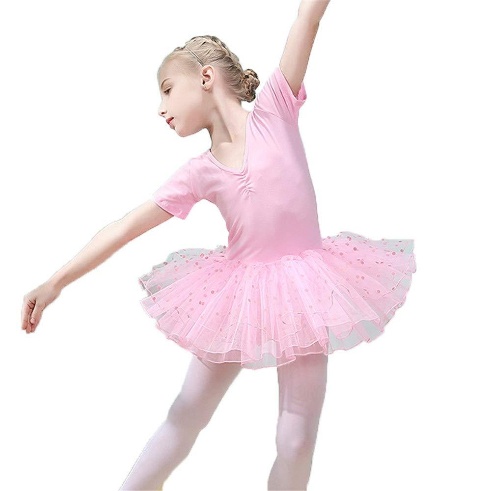 女の赤ちゃんのダンスドレスかわいいちょう結び半袖チュチュバレエドレスフリルスパンコールスカートチュールダンスボディ体操トレーニングバレリーナダンスウェア衣装パフォーマンスドレスボディダウン B07R8JX5LC