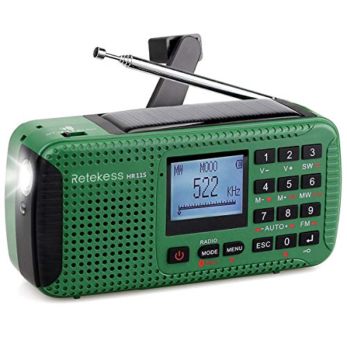 TIVDIO HR-11S Emergency Radio with AM FM Shortwave Radio Camping Dynamo Radio Solar Outdoor Wind Up with SOS Flashlight Wireless MP3 Player Speaker and Recorder Alarm Clock DSP(Green)