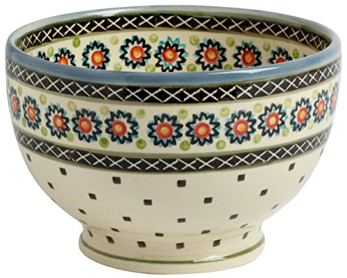 Polish Pottery Sunburst Dotted Flowers Footed Serving Bowl, 7