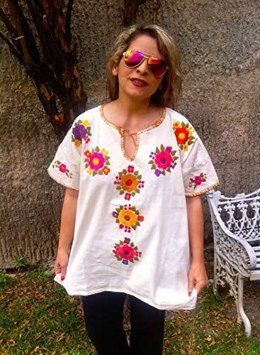 67df50003b6ac0 Image Unavailable. Image not available for. Color: Bohemian Blouse for Women  Embroidery Foral Tunic Plus Size …