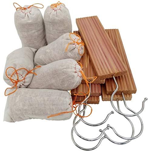 Wahdawn Moth Mildew Protection Repellent Closet Cedar Hang Ups - Wardrobes Smells Fresh with Light Cedar Fragrance Odour - 6 Hangup + 10 Balls