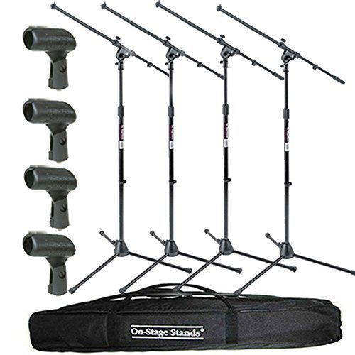 On Stage Stands MS7701B Tripod Boom Microphone Stand 4 Pack + 4 Unbreakable Dynamic Rubber Mic Clip + Speaker Stand Bag