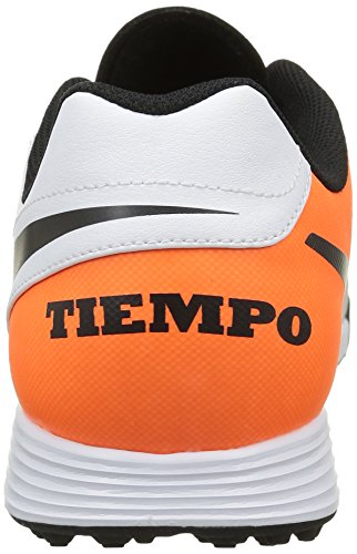 Nike Men's Tiempox Genio Ii Leather Tf Running Shoes, Weiß,Orange,Schwarz Blanco (White / Black-total Orange)