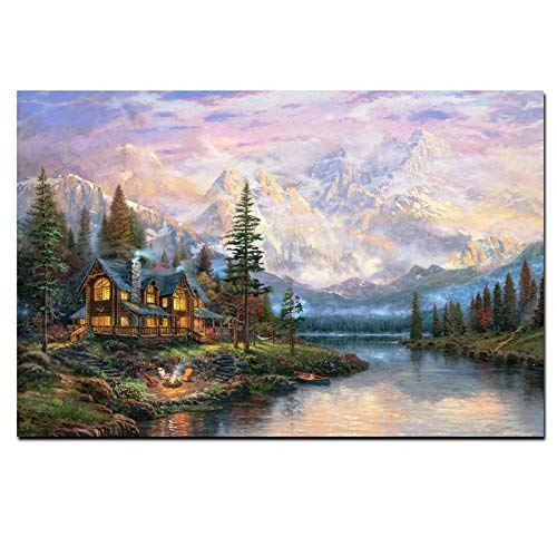 Karen Max Landscape Oil Painting on Canvas Cathedral Mountain Lodge by Thomas Kinkade Modern Wall Picture for Living Room Cuadros New Home Gifts Frameless Unstretched