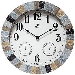 Infinity Instruments Faux Slate Wall Indoor/Outdoor Clock, Stone