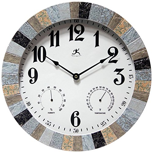 Infinity Instruments Faux Slate Wall Outdoor Clock,