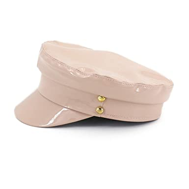 MEIZOKEN PU Leather Newsboy Cap Womens Hats Newsboy Hats Muts Gorras Mujer,Beige