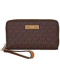 Womens Jet Set Travel Logo Continental Faux Leather Wristlet Wallet