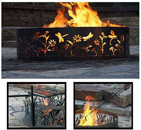 PD metales acero hoguera anillo de Fuego Diseño de libélula – sin pintar – con Fire Poker y parrilla – pequeño 30 D x 10 H Plus libre en español: Amazon.es: Jardín
