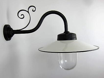 Lámpara de exterior pintada a mano con pantalla blanca, lámpara de exterior tradicional fabricada a mano para jardín, patio, taller o industria.: Amazon.es: Iluminación