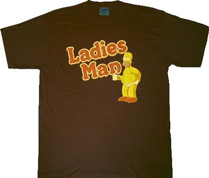7ebfe6e65a Amazon.com: The Simpsons Homer Ladies Man Brown T-Shirt Tee: Clothing