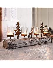 Decdeal Pillar Candle Holders, Glass Metal Candle Holder Tree Elk Shape Candlestick Holder Ornament