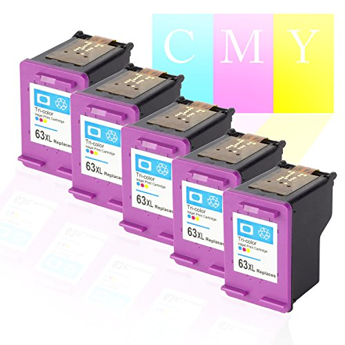 SOJIINK Remanufactured HP Replacement High Yield Color Ink Cartridge w/ Auto Ink Level Reset (No more low Ink Blinking) for F6U63AN / HP 63XL - 5PK ()
