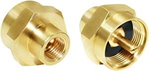 "Joywayus 1LB Propane Gas Bottle Refill Adapter,1/4"" NPT Female Universal Fit 1-lb Tank Brass Fitting(Pack of 2)"