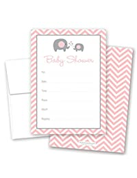 24 Cnt Pink Elephant Baby Fill-in Invitations BOBEBE Online Baby Store From New York to Miami and Los Angeles