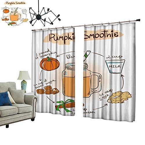 (PRUNUS Decorative Curtains has Hook sketc Pumpkin Smoothie inclu Recipe redients Machine Washable for Easy Care,W108)