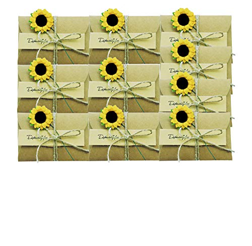 10 PCS Sunflower Gift Card Holder Greeting Card Wish Card Thank You Notes Birthday Party Invitation Card with Envelopes DIY Handmade Vintage Kraft Message Slip Memo Card -