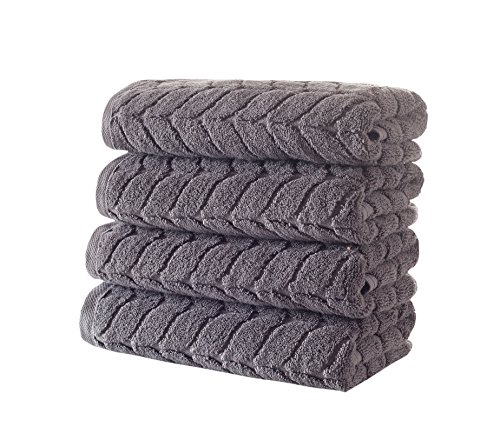 (Bagno Milano Jacquard-Woven Towels - Ultra-Absorbent & Fast-Drying Spa Towels - Non-GMO Turkish Cotton Towels - Durable & Plush Luxury Towels - Eco-Friendly Towels - Soft Spa Towel Bundle- Grey 4 Pcs)