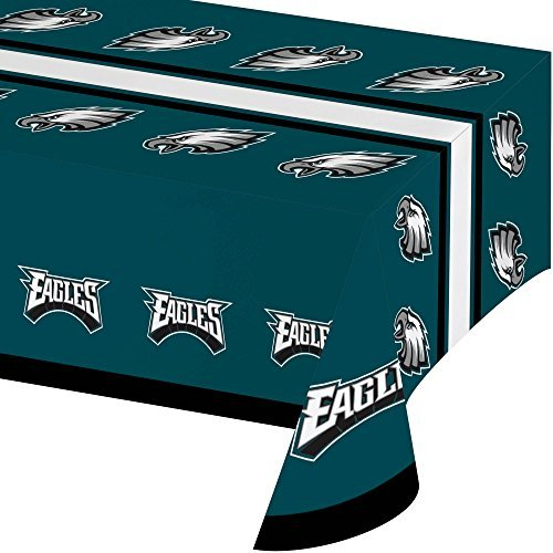 N2 54 X 102 Inch NFL Eagles Tablecloth, Football Themed Rectangle Table Cover Sports Patterned, Team Color Logo Fan Merchandise Athletic Spirit Green Black Silver, Plastic