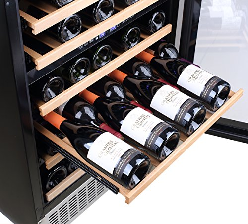【Upgraded】Aobosi 24'' Dual Zone Wine Cooler 46 Bottle Built in and Freestanding Wine Refrigerator for Reds,Whites,Champagne |Stainless Steel Tempered Glass Door | Quiet Operation | LED display by AAOBOSI (Image #4)