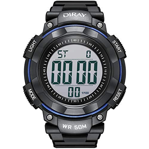DIRAY Men Analog Sport Digital Watch Electronic Wrist Watches with Round Dial Alarm Stopwatch LED Backlight and Rubber Band