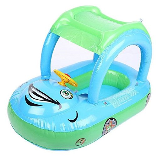 Homespun Float Light Blue Sunshade Boat Seat Inflatable Swim Swimming Ring Pool Raft Baby Kid Gift