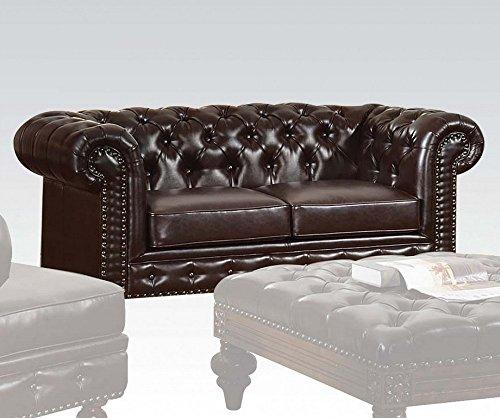 Acme Furniture ACME Shantoria Dark Brown Bonded Leather Loveseat - Acme Furniture Leather Loveseat
