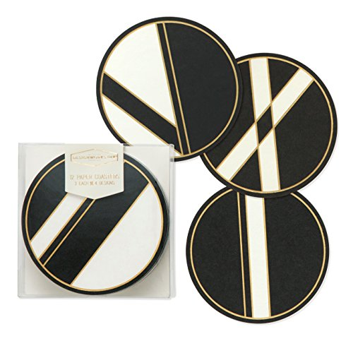 DesignWorks Ink Boxed Heavyweight Paper Coasters, Linear Black & White ()