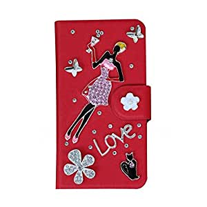 Generic PU Meterial Leather Holder Rhinestone Thin Hard Case Cover Flower Compatible For Samsung Galaxy S4 SIV I9500 Color Red Design Beauty and Cat