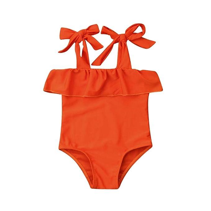 Snwyfrr Toddler Kids Little Girls One Piece Swimsuit Flowers Print Swimwear Bathing Suit