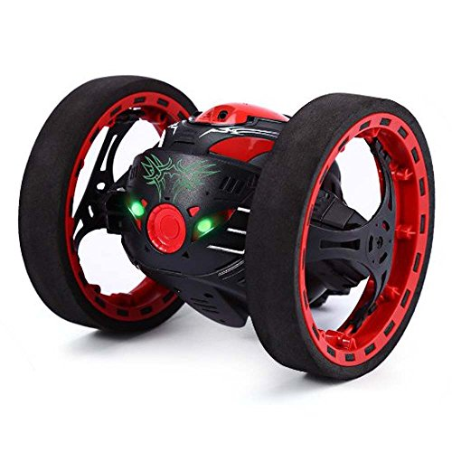 Car Toys for Kids Toddlers Baby Boys Girls Adults Seat Model Toys Steering Wheel Car Toy Track,2.4GHz Wireless Remote Control Jumping RC Toy Bounce Cars Robot Toys Flexible Wheels Rotation (Black) by DICPOLIA