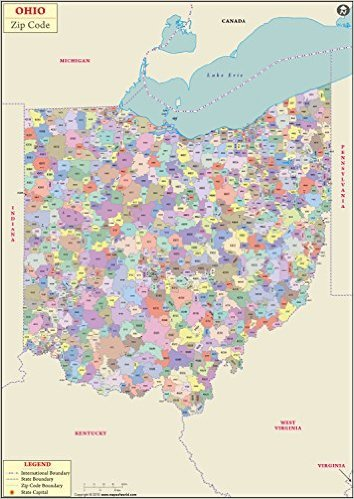 Amazon.com : Ohio Zip Code Map - Laminated (36\